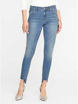 Mid-Rise Rockstar Super Skinny Step-Hem Jeans - Bright Worn Wash